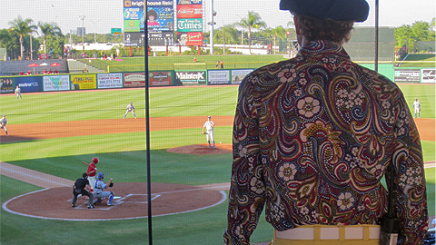 Clearwater Threshers GM John Timberlake takes in the game on '70's Night.