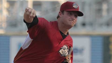 Gerrit Cole delivers a pitch in the first inning of his Double-A debut.